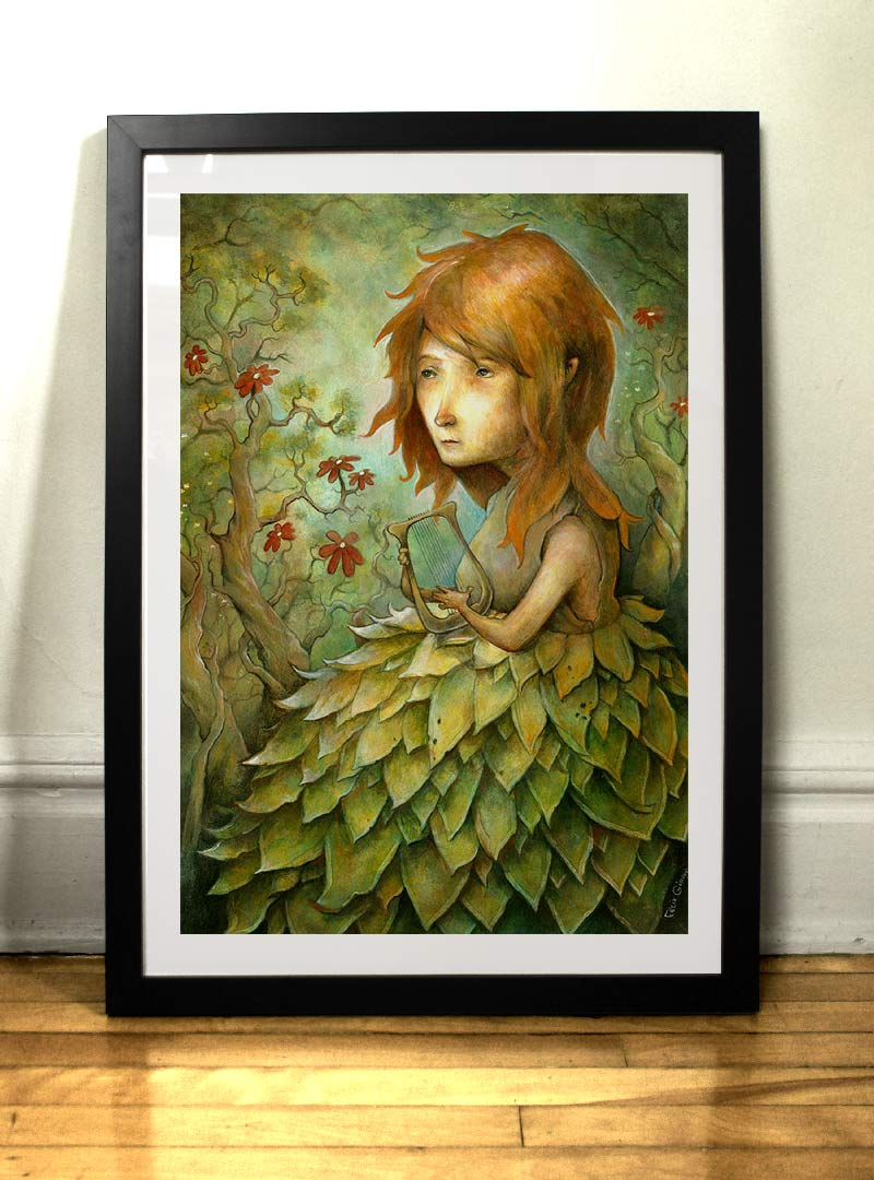 Jeune fille à la lyre peinture Félix Girard