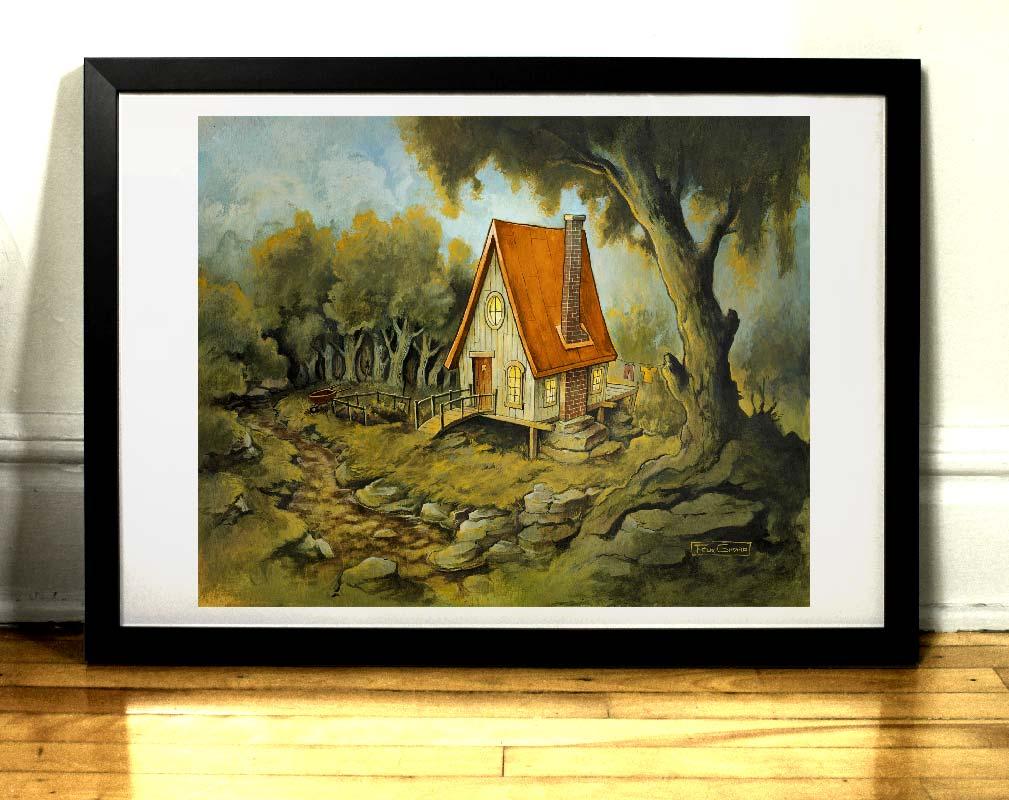 Maison dans la foret peinture par Félix Girard