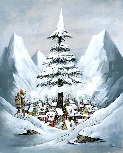 Le village par l'artiste Félix Girard