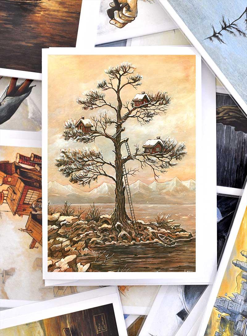 Carte de voeux neige arbre maison