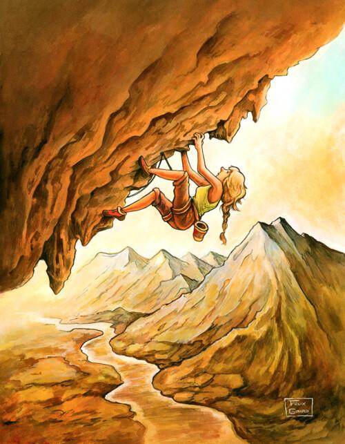 Scène d'escalade par l'illustrateur Félix Girard