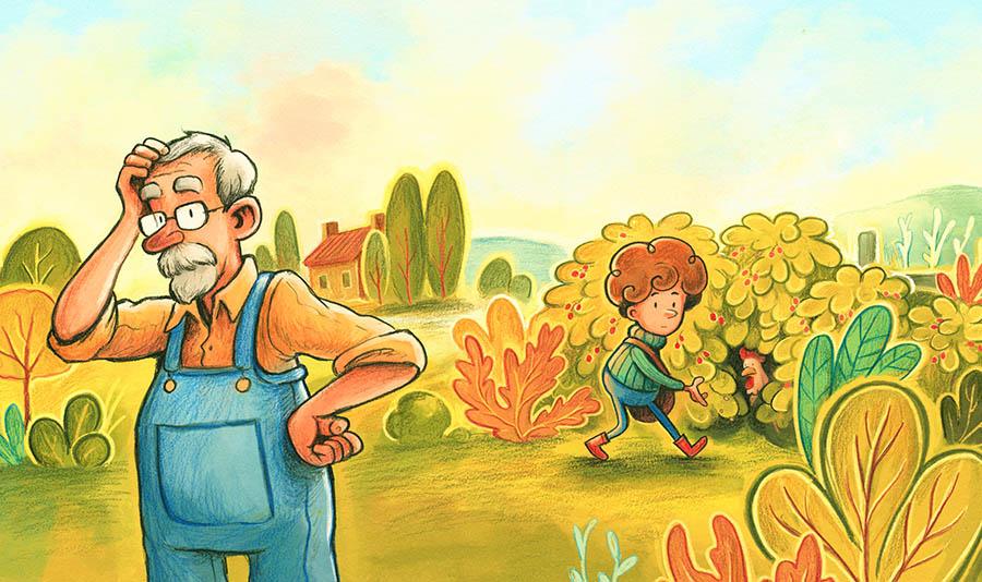Émile et sa poulette, livre jeunesse per Angèle Delaunois et illustré par Félix Girard