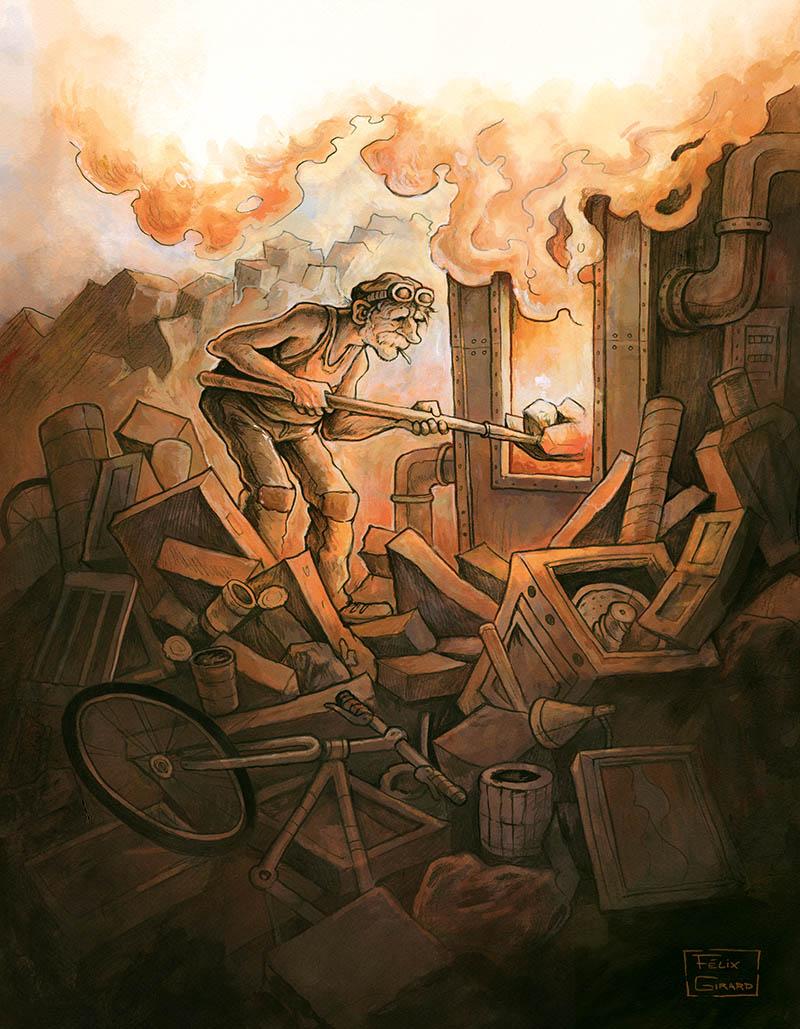 Incinérateur, illustration for the brewery La Souche par the artist Felix Girard