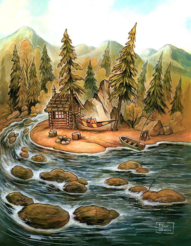 La gose laurentienne, Illustration de rivière par Félix GIrard artiste