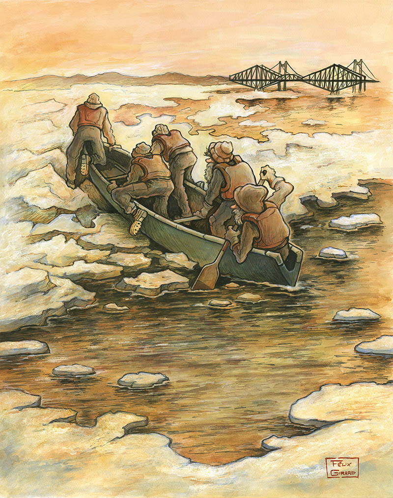 Canotier Ice canoeing in Quebec by Felix Girard painter