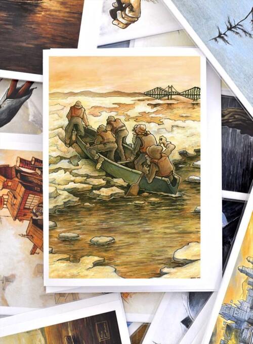 greeting card quebec pont de quebec fleuve canotiers