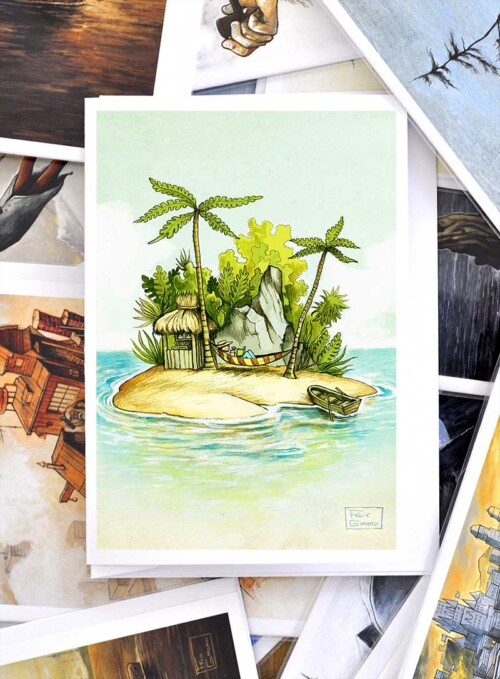 greeting card île paradis mer vacances